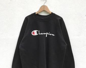 20% OFF Vintage Champion 90s Big Logo Sweatshirt / Champion Sweater / Champion Clothing / Champion Spellout / Balck Sweatshirt / Armpit 23""