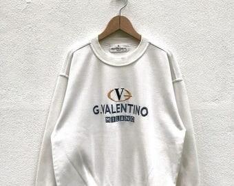 "20% OFF Vintage Valentino Gabbana Milano Embroidery Logo Sweatshirt / Valentino Gabbana Sweatshirt / Valentino Gabbana Big Logo / Armpit 23"""
