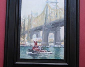 Tugboat Below the Queensboro Bridge, New York City, original oil painting