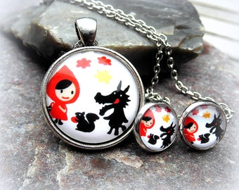Necklace Earring Set cabochon little Red Riding Hood and the Wolf evil fairy nostalgia
