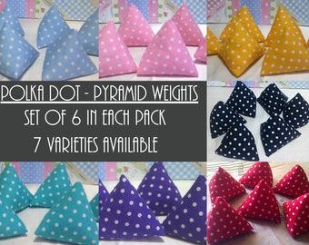 Set of 6 Polka Dot Sewing Pattern Weights, Pyramid Weights, Sewing Weights, Pattern Weights, Fabric Weights, Mini Weights, Seamstress Gift