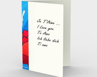 I love you - I Love you from Yoga Man who is in love 3 cards 3 envelopes (in 5 languages)