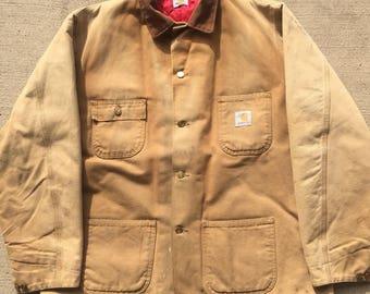 Vintage Distressed Carhartt Chore Jacket Mens XL-XXL