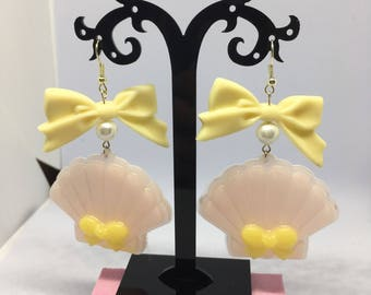 Pink/yellow Seashell Earrings