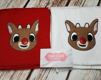 Rudolph The Red-Nosed Reindeer Dish Towel Applique
