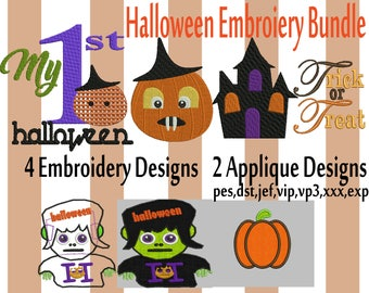 SALE Machine Embroidery Design BUNDLE, 6 Design Halloween Machine Embroidery Design, Halloween Digital Embroidery Bundle,Haloween embroidery