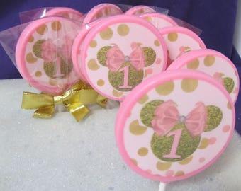 12 Minnie #1 chocolates lollipops
