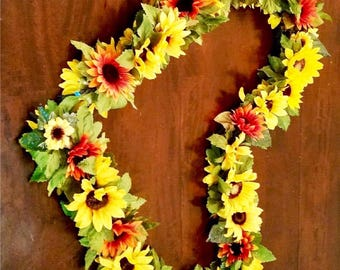 Sunflower Wedding Arch Swag - 7.5 ft Wedding Arch Decoration (Orange & Yellow)
