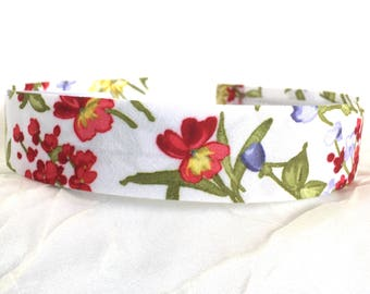 Flower Hairband - French Chintz - Red Green White - Cotton Headband - Floral Hairband - Flower Cotton Print - Birthday Gift Girl - Kids Summ