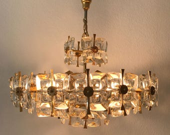 Gorgeous Mid Century Modern XL PALWA CHANDELIER | Pendant Lamp | Crystal Glass | 9-Lights | 1960s/70s | Lobmeyr | Bakalowits Era