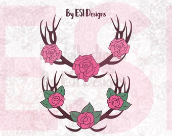 Boho Style, Deer antlers and Rose Designs, SVG, DXF, EPS cut files for use with Silhouette Studio Designer Edition and Cricut Design space.