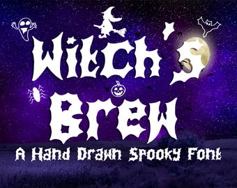 Font Download, Witch's Brew, Halloween Font, A Hand Drawn Spooky Font, Commercial use, Digital Download. OTF Files + Extra's
