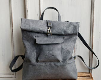 Grey leather and grey Waxed Canvas Backpack - Canvas and Leather Rucksack - Leather and Canvas Backpack - Valentine day gift idea