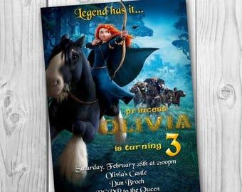 Merida Brave Invitation - BraveBirthday Party Invitation - Merida Printable - Brave Invitation - Merida Invite