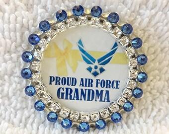 "Air Force Grandma, Swarovski Rhinestone Yellow Ribbon Military Pin, Gift for USAF Grandmother, ""Proud Air Force Grandma"""