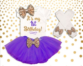 Baby Girl 1st Birthday Outfit It's My 1st Birthday Girl Outfit Cake Smash Outfit Baby Girl Shirt Pink and Gold 1st Birthday Tutu Set