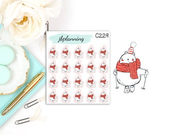 Peyton the Cute Polar Bear Goes Skiing | Character Stickers | C229