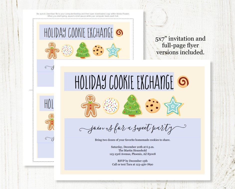 Holiday Cookie Exchange Invitation - Printable Christmas Cookie ...