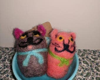 Handmade needle felted Two Kittens in a Bowl