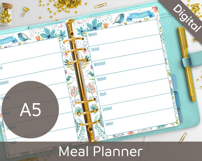 A5 Meal Planner Printable, Filofax A5 printable refills, Meals printable insert, Arinne Blue Bird DIY Planner PDF Instant Download