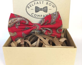 Handmade Paisley Bow Tie in Rich Red - Adult & Junior sizes available