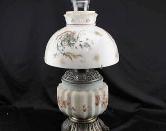 Summer 1890,s Antique Oil Lamp Hurricane Lamp Climax Burner Floral Shade