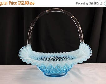 "Summer Vintage Fenton Glass Hobnail Blue Opalescent 10"" Basket Unmarked"