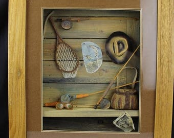 July 4th Sale 3D Shadow Box Fisherman's Gear Fly Fishing Pole, Wall Decor, Cabin Decor