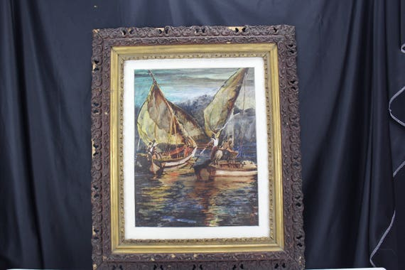 Fine Art Painting Watercolor Early 20th C African American Boating Sean