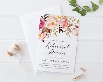 Printable Wedding Rehearsal Dinner Invitation, Pink Rose Bohemian Wedding Rehearsal Dinner Invitation