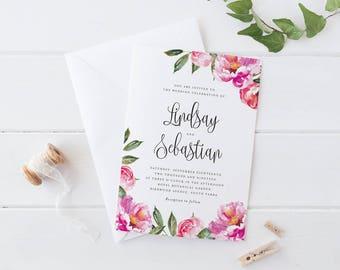 Printable Wedding Invitation Set, Pink Peonies Flower Wedding Invitation Set, Pink Flower Botanical Watercolor Flower Wedding invitation Set