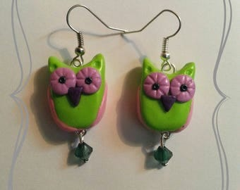 """Earrings in polymer clay """"Pretty OWL of spring"""""""