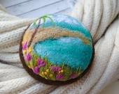 Felt brooch Needle felt brooch with embroidery Wool felt brooch Needle felted jewelry Felted landscapes  Beach brooch Sea scape