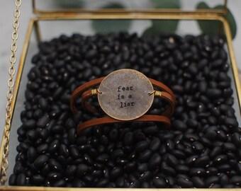 Customized Leather Wrap Bracelet, Large Brass Circle