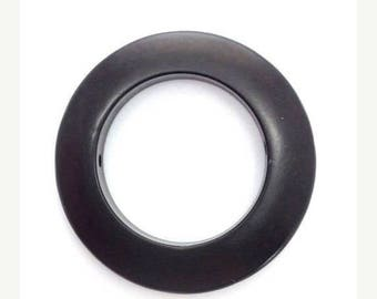 SALE 10% OFF Tagua ring large, black, 30mm, 1 piece, two hole