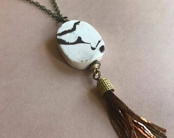 Marbled White and Brown Tassel Necklace