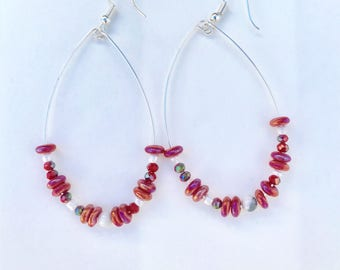 Red and White Hoop Earrings