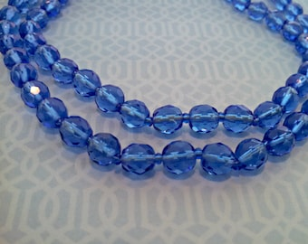Vintage Necklace, Cobalt Blue Glass Beads, 30 Inches, Flapper Style, Spring Clasp, Mid Century, Circa 1960s, Includes Gift Box