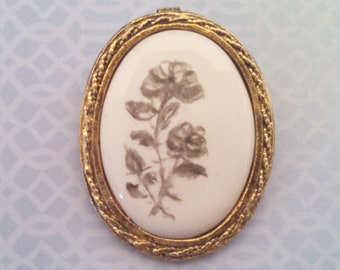 Vintage Brooch Pendant, Oval Porcelain Floral Brooch Pendant Combo, Gray Roses, Antiqued Gold Tone Trim, Circa 1980s, Includes Gift Box