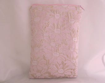 Brocade Tarot Card Bag Pink and Gold with Pink Satin Lining and Zipper Dice Makeup Pouch Fancy
