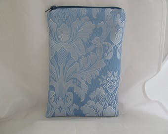 Brocade Tarot Card Bag Blue and White with Navy Blue Satin Lining and Zipper Dice Makeup Pouch Fancy