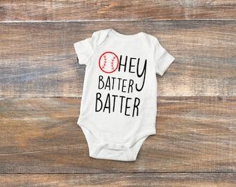 Hey Batter Batter Baseball Baby Bodysuit or Toddler Shirt
