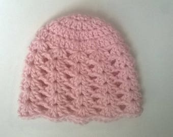 Pink wool baby girl hat size 0/3 month birth is hand crochet
