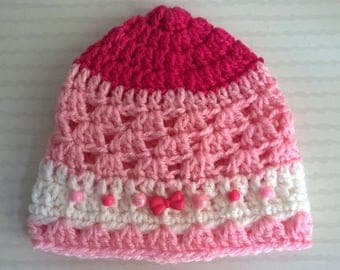 Hat decorated with pink girl bow beads - baby 0/3 months