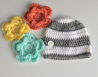 Striped Interchangeable Flower Hat, Ready to Ship, Crochet Baby Hat, Flower Hat, Striped Hat, Newborn Girl Hat,  Photo Prop