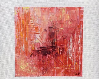 Red abstract painting coton abstract / art / france