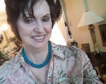 Turquoise flat beaded one strand necklace