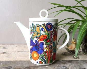 Villeroy And Boch Acapulco Coffee Pot  Tea Pot With Rainbow Colors Flowers And Birds 70s' Kitchenware NEVER USED !