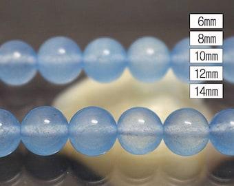 2 Str Malaysia Jade smooth round beads, Light Blue Beads ( 6 mm 8mm 10mm 12mm 14mm )