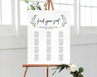 Greenery Wedding Sign, Seating Chart Sign, Wedding Seating Chart Template, Template Alphabetical, PDF Instant Download #BPB330_52